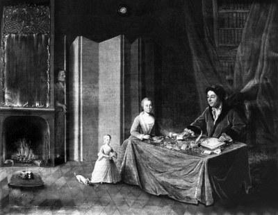 Johann Friedrich von Herrenschwand mit Gattin und Tochter, Ölgemälde von J. d'Lander, 1761. – Burgerbibliothek Bern.
