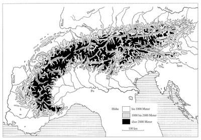Relief der Alpen, undatierte Grafik, unbekannter Künstler, in: Jon Mathieu: Geschichte der Alpen 1500-1900: Umwelt, Entwicklung, Gesellschaft, Wien 1998. Ⓒ Böhlau Verlag GmbH & Co. KG.