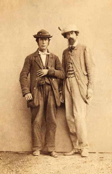 Leslie Stephen (1832–1904), links, und Melchior Anderegg (1828–1914), rechts, schwarz-weiß Photographie, o. J. [c. 1870], unbekannter Photograph; Bildquelle: The Alpine Cub [http://www.alpine-club.org.uk/index.html] , Photo Library, http://www.alpine-club.org.uk/photolibrary/album.html.