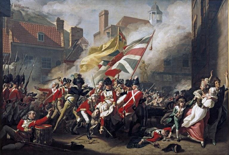 John Singleton Copley (1738–1815), Der Tod des Major Peirsons, Öl auf Leinwand, 247 × 366 cm, 1782–1784, Bildquelle: Tate Gallery, http://www.tate.org.uk/servlet/ViewWork?cgroupid=999999961&workid=2787&tabview=text&texttype=10.