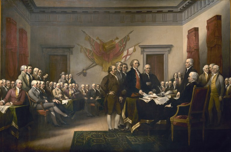 John Trumbull (1756–1843), Declaration of Independence, Öl auf Leinwand, 365,76 cm × 548,64 cm, USA, 1818; Bildquelle: United States Architect of the Capitol, http://www.aoc.gov/cc/art/rotunda/declaration_independence.cfm.