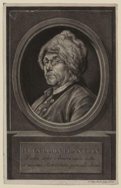 Portrait Benjamin Franklin (1706–1790), Kupferstich nach einem Gemälde von Charles Nicolas Cochin (1715–1790), 1780, Johann Elias Haid (1739–1809); Bildquelle: Library of Congress, Prints and Photographs Division, http://www.loc.gov/pictures/item/2003675418/.