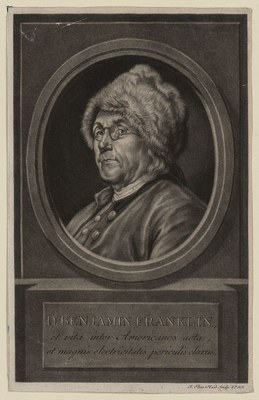 Portrait Benjamin Franklin (1706–1790), Kupferstich nach einem Gemälde von Charles Nicolas Cochin (1715–1790), 1780, Johann Elias Haid (1739–1809); Bildquelle: Library of Congress, Prints and Photographs Division, http://www.loc.gov/pictures/item/2003675418/.