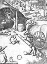 Bauern spielen eine frühe Form des cricket, Zeichnung, 16. Jahrhundert, unbekannter Künstler; Bildquelle: Die Gartenlaube : illustrirtes Familienblatt, Sammelband, Leipzig 1908, S. 959, http://de.wikipedia.org/w/index.php?title=Datei:Bauern_beim_Cricketspiel_in_%C3%A4lterer_Form.jpg&filetimestamp=20080413142727.
