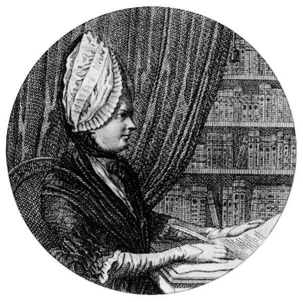 Sophie von La Roche an ihrem Schreibtisch, Kupferstich, 1799, unbekannter Künstler; Bildquelle: La Roche, Sophie von: Mein Schreibetisch, 1799, vol. 1, Titelblatt; Wikimedia commons, http://commons.wikimedia.org/wiki/File:Sophie_von_La_Roche_Mein_Schreibetisch_Detail.jpg.