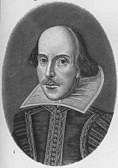"""Martin Droeshout (1601 – ca. 1650) [?], Portrait William Shakespeare (1564–1616), Kupferstich, Titelblatt der sog. """"First Folio""""-Ausgabe von 1623 (Shakespeare, William: Comedies, Histories & Tragedies, London 1623); Bildquelle: Helmolt, Hans F. (Hg.): History of the World, New York 1902; University of Texas Libraries, Portrait Gallery, http://www.lib.utexas.edu/exhibits/portraits/index.php?img=349."""
