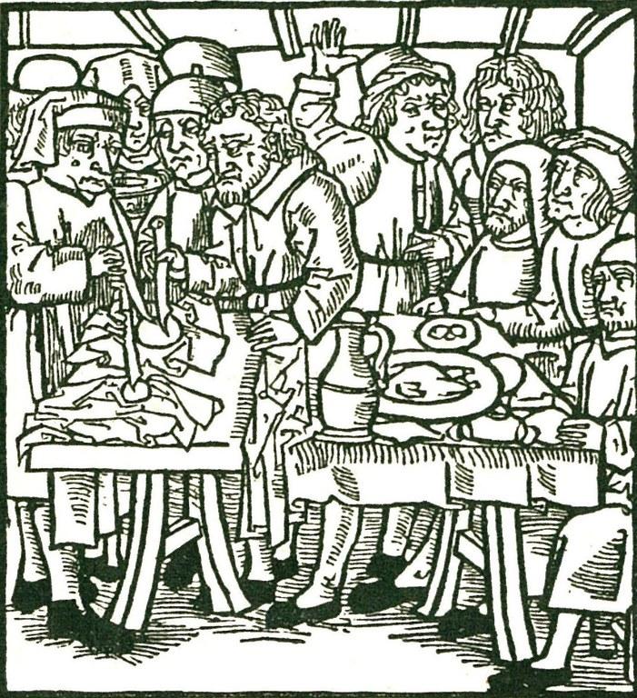 Darstellung der Hostienschändung in Sternberg vom Jahre 1492, nach einem gleichzeitgen Lübecker Stich, unbekannter Künstler; Bildquelle: Jüdisches Lexikon, Berlin 1928, vol. 2, Sp. 1681.
