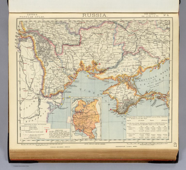 Südwestrussland mit Podolien, Karte, 1883; Bildquelle: Letts, Son & Co. Limited (Hg.): Letts's popular atlas, being a series of maps delineating the whole surface of the globe, with many special and original features; and a copious index of 23,000 names. Complete edition, London 1883, S. 67. Digitalisat: David Rumsey Map Collection, www.davidrumsey.com, http://www.davidrumsey.com/luna/servlet/detail/RUMSEY~8~1~31415~1150371:Russia--No--8--Letts-s-popular-atla?sort=Pub_List_No_InitialSort%2CPub_Date%2CPub_List_No%2CSeries_No&qvq=q:Letts%27s%2Bpopular%2Batlas;sort:Pub_List_No_InitialSort%2CPub_Date%2CPub_List_No%2CSeries_No;lc:RUMSEY~8~1&mi=68&trs=158.