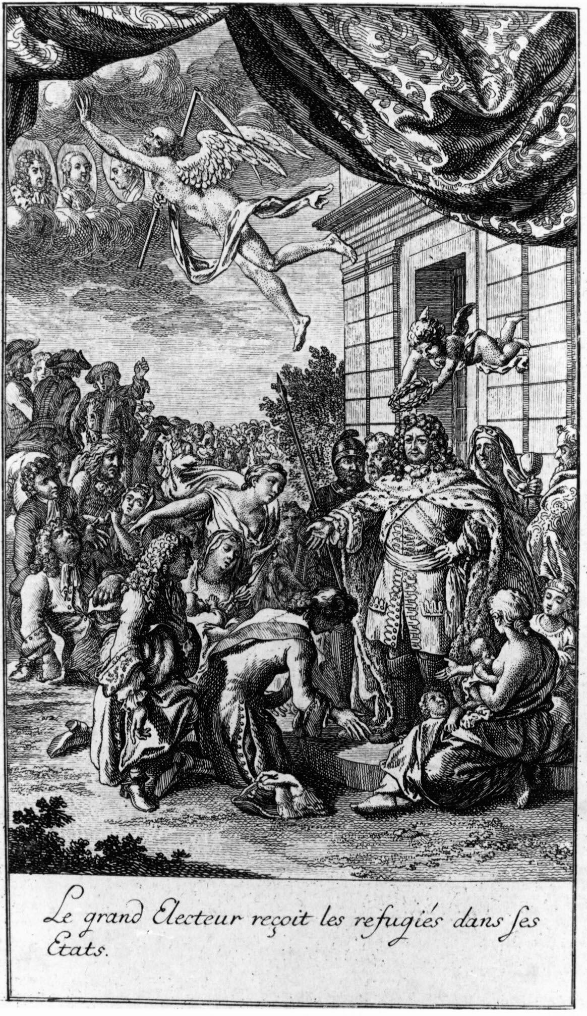 """Daniel Chodowiecki (1726–1801), """"Le grand Electeur reçoit les refugies dans ses Etats"""", Radierung nach Johann Jakob Thurneysen (1636–1711), 1782, 11,6 x 18,6 cm; Bildquelle: Erman, Jean Pierre / Reclam, Pierre Chrétien Frédéric: Mémoires pou servir à l'histoire des Réfugiés françois dans les Etats du Roi, Berlin 1782, vol. 1, Titelvignette. Hugenottenmuseum Bad Karlshafen, http://www.hugenottenmuseum.de/hugenotten/bildergalerien/aufnahme/02-daniel-chodowiecki-empfang-potsdam.php."""