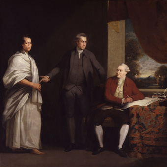 William Parry (1743–1791), Omai (c. 1753 – c. 1780), Sir Joseph Banks (1743-1820) and Daniel Charles Solander (1736-1782), oil on canvas, 1525 mm x 1525 mm, Great Britain, c. 1775–1776; source: © National Portrait Gallery, London.