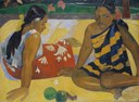 Paul Gauguin (1848–1903), Reo Mā`ohi: Parau api, oil on canvas, 67x92 cm, 1892; source: Galerie Neue Meister, Staatliche Kunstsammlungen Dresden, inventory number: Gal. Nr. 2610, © Staatliche Kunstsammlungen Dresden.