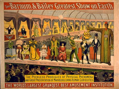 The Barnum & Bailey greatest show on earth, coloured lithograph, USA, 1899, unknown artist, The Strobridge Litho. Co., Cin'ti & New York; source: Library of Congress, Prints and Photographs Division Washington, http://www.loc.gov/pictures/resource/cph.3g03333/.