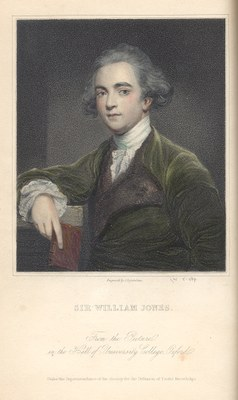 Sir William Jones (1746–1794), coloured steel engraving after Joshua Reynolds (1723–1792) by James Posselwhite (1798–1884), 19th century; source: Walpole, Horace, Earl of Orford: The Letters, ed. by Peter Cunningham, London 1857; The James Smith Noel Collection, Noel Memorial Library, Louisiana State University in Shreveport, http://www.jamessmithnoelcollection.org/images/sir%20william%20jones.jpg.