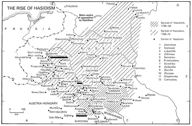 "Karte: ""The Rise of Hasidism""; Bildquelle: Dan Cohn-Sherbok: ""Judaism: History, Belief & Practice"", 2003. (Verlag: Routledge). http://cw.routledge.com/textbooks/0415236614/resources/maps/map50.jpg (Markierungen von EGO-Redaktion)."