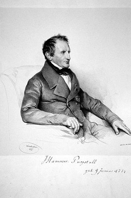 Josef Kriehuber (1774–1856), portrait of Joseph von Hammer-Purgstall (1774–1856), lithography (photographic reproduction), 1843, photographer: Peter Geymayer; source: private collection, wikimedia commons, http://commons.wikimedia.org/wiki/File:Hammer_Purgstall.jpg.