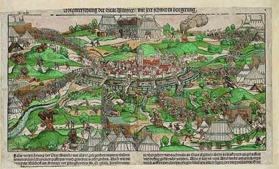 Erhard Schoen (ca. 1491–1542), Ansicht der Belagerung von Münster 1534, kolorierter Holzschnitt mit Typendruck, 34,6x59,3 cm; Bildquelle: LWL-Landesmuseum für Kunst und Kulturgeschichte, Münster/Sabine Ahlbrand-Dornseif, Inv. Nr. K 35-52 LM.
