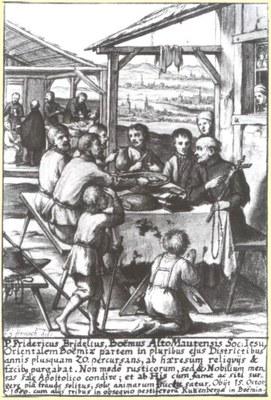Flugblatt zur segensreichen Tätigkeit der Jesuiten in Böhmen, unbekannter Künstler, 1680; Bildquelle: Das Ökumenische Heiligenlexikon, http://www.heiligenlexikon.de/Orden/Jesuiten.htm.
