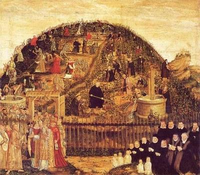 Lucas Cranach d.J. (1515–1586), Die Reformatoren im Weinberg des Herrn, Epitaph des Paul Eber, Öl auf Holz, 1569; Bildquelle: Mit freundlicher Genehmigung der Evangelischen Stadtkirchengemeinde Wittenberg.