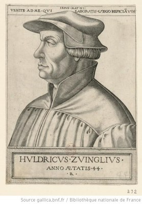Boyvin, René (ca. 1525– ca. 1598), portrait of Huldrych Zwingli (1484–1531) at the age of 44, engraving; source: www.gallica.bnf.fr, Permalink: http://catalogue.bnf.fr/ark:/12148/cb41499480x.