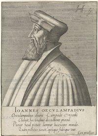 Hendrik Hondius I (1576–1650), portrait of Johannes Oecolampadius (1482–1531), engraving, 1599; source: Rijksmuseum, Amsterdam, https://www.rijksmuseum.nl/nl/collectie/RP-P-1908-2648.