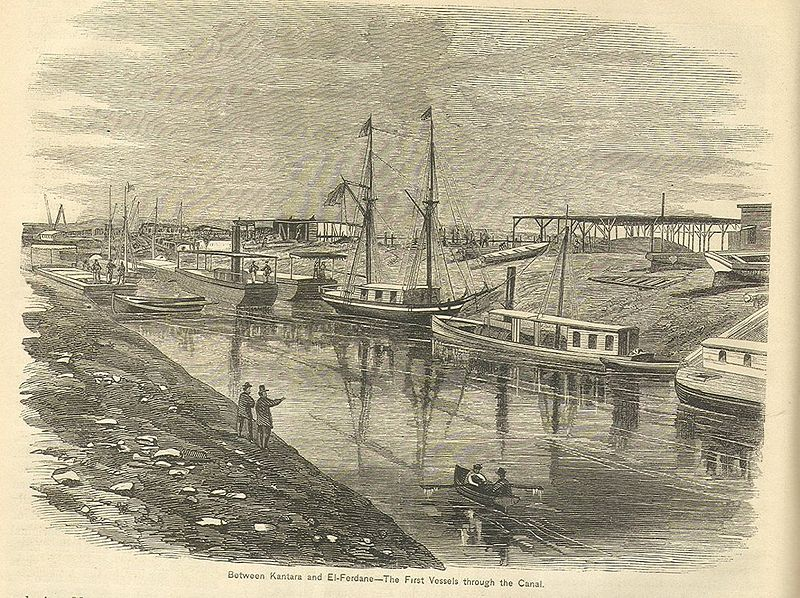 """""""Suez Canal, between Kantara and El-Fedane. The first vessels through the Canal"""", engraving, 1869, unknown artist; source: Appleton's Journal of Popular Literature, Science, and Art, 1869, wikimedia commons, http://commons.wikimedia.org/wiki/File:SuezCanalKantara.jpg, public domain."""