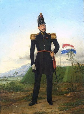 Officer of the K.N.I.L., oil on canvass, 1849, unknown artist; source: Tropenmuseum of the Royal Tropical Institute (KIT) Amsterdam, 959-1, wikimedia commons, http://commons.wikimedia.org/wiki/File:COLLECTIE_TROPENMUSEUM_Olieverfschildering_voorstellend_een_officier_van_het_K.N.I.L._TMnr_959-1.jpg. Creative Commons Attribution-Share Alike 3.0 Unported license.