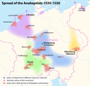 Spread of the Anabaptists 1525–1550, map, author: Maximilian Dörrbecker (Chumwa); source: Wikimedia Commons, http://en.wikipedia.org/wiki/File:Spread_of_the_Anabaptists_1525-1550.png, Creative Commons Attribution-Share Alike 2.0 Generic license, http://creativecommons.org/licenses/by-sa/2.0/deed.en.