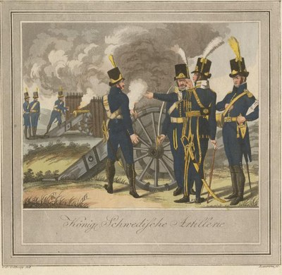 C. G. Gillberg after Laurens, Soldiers of the Royal Swedish Artillery, hand-coloured engraving, 37.2 x 23 cm, 1807–1809; source: Anne S.K. Brown Military Collection, Brown University Library, http://dl.lib.brown.edu/jpegs/1211647128640625.jpg.