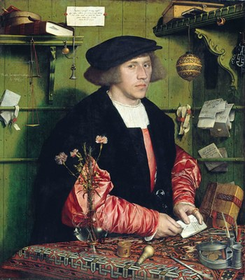 Hans Holbein d. J. (1497–1543), Der Kaufmann Georg Gisze (1497–1562), Öl auf Eichenholz, 1532; Bildquelle: © Bildagentur für Kunst, Kultur und Geschichte (bpk) | Gemäldegalerie, SMB / Jörg P. Anders, Bildnummer: 00012218, Standort des Originals: Gemäldegalerie, Staatliche Museen zu Berlin.