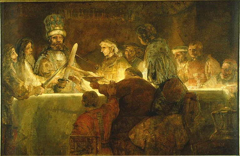 Rembrandt Harmenszoon van Rijn (1606–1669), Die Verschwörung des Claudius Civilis, Öl auf Leinwand, 196x309 cm, ca. 1660; Bildquelle © Nationalmuseum Stockholm, http://emp-web-22.zetcom.ch/eMuseumPlus?service=ExternalInterface&module=collection&objectId=17581&viewType=detailView.