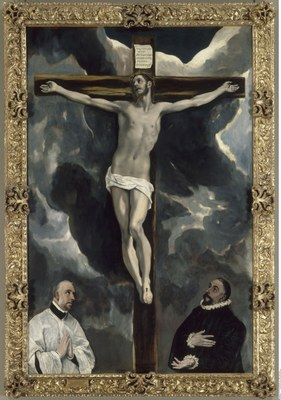 Domínikos Theotokópoulos, bekannt als El Greco (1541–1614), Christus am Kreuz mit zwei Stiftern, Öl auf Leinwand, um 1580; Bildquelle: © Bildagentur für Kunst, Kultur und Geschichte (bpk)/RMN/Gérard Blot, Bildnummer: 00057398; Standort des Originals: Musée du Louvre, Paris.