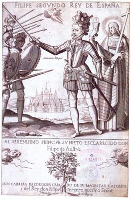 Philipp II. als Verteidiger des rechten Glaubens, Radierung, 1619, unbekannter Künstler; Bildquelle: Luis Cabrera de Córdoba: Felipe Segundo Rey de España,  Madrid 1619.