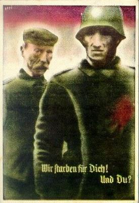 """""""Wir starben für Dich! Und Du?"""", Postkarte zur Saarabstimmung, Saarbrücken, 1935, unbekannter Künstler; Bildquelle: Deutsches Historisches Museum PK 99/58, http://www.dhm.de/lemo/objekte/pict/99002244/index.html."""