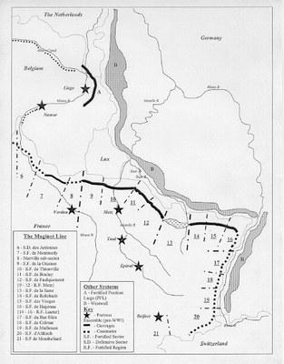 Regierung des Vereinigten Königreichs: The Maginot Line, Grafik, undatiert [vor  1962]; Bildquelle: Wikimedia Commons, http://commons.wikimedia.org/wiki/File:Maginot_Linie_Karte.jpg?uselang=de. Creative Commons Attribution ShareAlike 3.0 Germany.