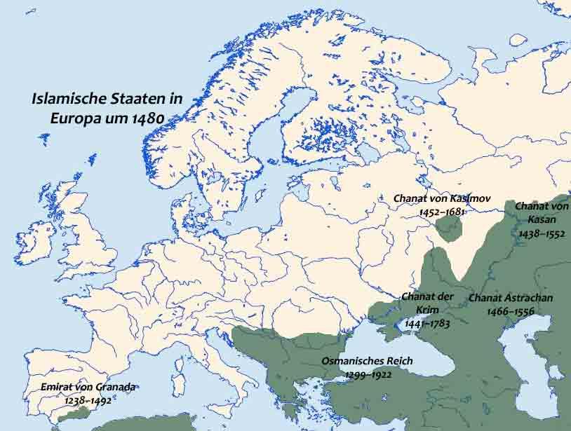 Islamische Staaten in Europa um 1480, Karte, 2012, Bildquelle: Leibniz-Institut für Europäische Geschichte (2012). Creative Commons Attribution - Noncommercial - No Derivative Works 3.0 Germany License.