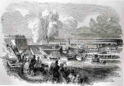 Belagerungsoperationen in Chatham – Zündung einer Mine, Holzstich, undatiert, unbekannter Künstler; Bildquelle: Illustrated London News, 22. Juli 1854.