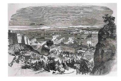 Bild-Modell der Stadt und der Befestigungen von Sewastopol im Zoologischen Garten von Surrey, Holzstich, undatiert, unbekannter Künstler, Illustrated London News, 2. Juni 1855.