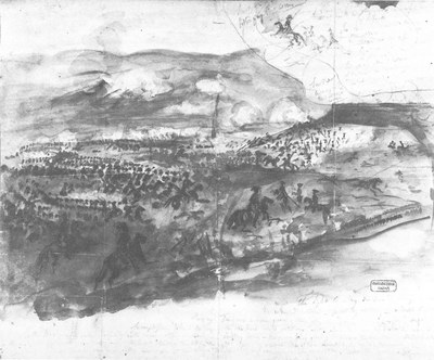 Constantin Guys (1802–1892): Der Angriff der Leichten Brigade, Aquarell, 1854; Bildquelle: Privatsammlung.