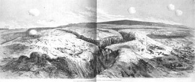Französische Grabenstellung vor der Masten-Bastion, Holzstich nach Henri Durand-Brager (1814–1879), undatiert, unbekannter Künstler; Bildquelle: L'Illustration, 24. März 1855.