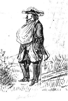 Constantin Guys (1802–1892), General Canrobert in der Schlacht von Inkermann, Federzeichnung, 1854; Bildquelle: Privatsammlung.