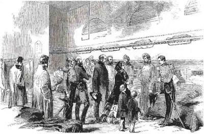 Ihre Majestät im Hospital von Brompton,  Holzstich, undatiert, unbekannter Künstler; Bildquelle: Pen and Pencil, 10. März 1855.