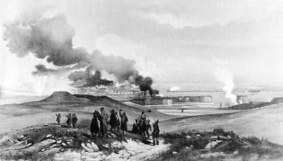 Sewastopol aus der Sicht hinter dem Großen Redan, Lithografie, ca. 1856, unbekannter Künstler; Bildquelle: National Army Museum.