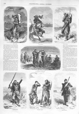Typen und Physiognomien in der Orient-Armee, Holzstich nach Henri-Durand-Brager (1814–1879), undatiert, unbekannter Künstler; Bildquelle: L'llustration, 17. Mai 1856.