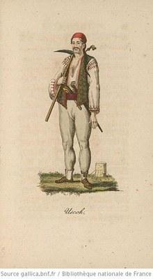 Uskok, Zeichnung, vor 1844, Künstler: Christian Geißler; Bildquelle: Wikimedia Commons, https://commons.wikimedia.org/wiki/File:Uskok._Serbli._Skoko.jpg, gemeinfrei.