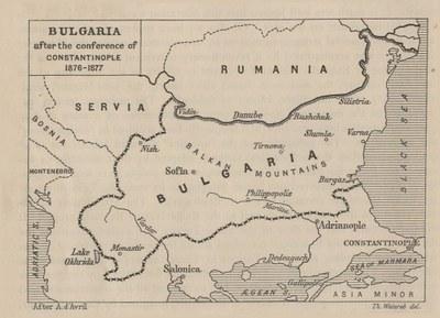 Die Grenzen Bulgariens nach 1878