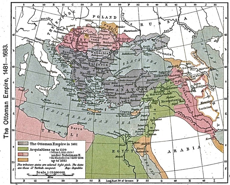 The Ottoman Empire, 1481–1683, Karte, 1923, unbekannter Ersteller; Bildquelle: Shepherd, William R.: The Historical Atlas, New York, 1923. Digitalisat: The University of Texas at Austin, http://www.lib.utexas.edu/maps/historical/shepherd/ottoman_empire_1481-1683.jpg.