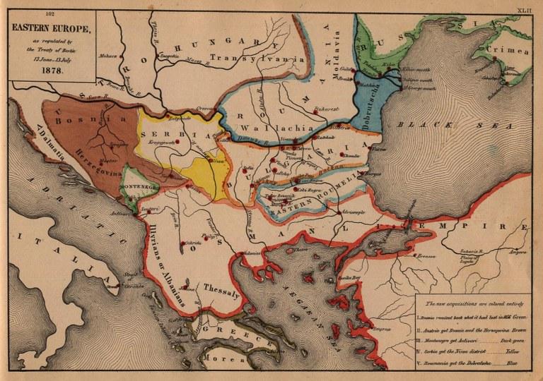 Eastern Europa as regulated by the Treaty of Berlin 13 June–13 July 1878, Karte, 1884, unbekannter Ersteller; Bildquelle: Labberton, Robert H: An Historical Atlas, 1884. Digitalisat: University of Texas at Austin, http://www.lib.utexas.edu/maps/historical/eastern_europe1878.jpg.
