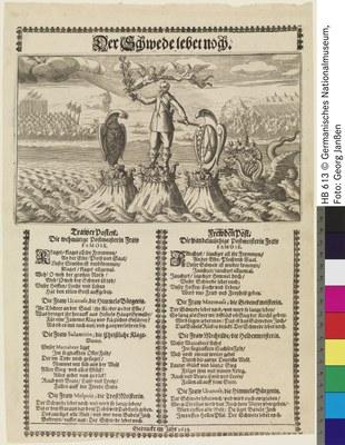 """Unbekannter Künstler: """"Der Schwede lebet noch"""", Flugblatt, Radierung, Kupferstich, Typendruck, Einblattdruck, 1633, 14,6 x 24,5 cm (Platte); Bildquelle: Germanisches Nationalmuseum, Nürnberg, Graphische Sammlung, Inventar-Nr. HB 613, Kapsel-Nr. 1314, http://objektkatalog.gnm.de/objekt/HB613."""