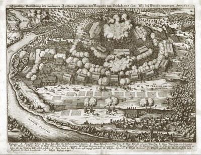 Matthäus Merian d. Ä. (1593–1650): Die Schlacht bei Wimpfen, Kupferstich, 1635; Bildquelle: ders. u.a., Theatrum Europaeum, vol. 1, 3. Auflage, Franckfurt am Mayn 1662, Digitalisat Universitätsbibliothek Augsburg, Signatur 02/IV.13.2.26-1, Tafel nach S. 692, http://www.nbn-resolving.de/urn:nbn:de:bvb:384-uba000236-6, https://media.bibliothek.uni-augsburg.de/node?id=38677.