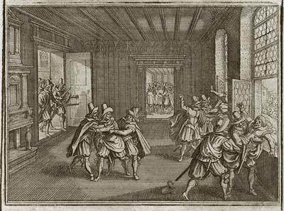 Matthäus Merian d. Ä. (1593–1650): Prager Fenstersturz 1618, Kupferstich, 140 x 103 mm; Bildquelle: ders. u.a.,  Theatrum Europaeum,  vol. 1, Frankfurt am Main 1662, S. 16; Digitalisat: Universitätsbibliothek Augsburg, Signatur 02/IV.13.2.26-1, S. 12, https://media.bibliothek.uni-augsburg.de/node?id=38607.